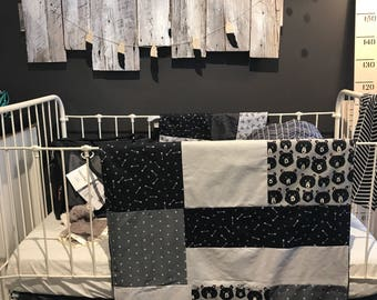 Baby blanket ,handmade baby quilt, bears with grey and black , choice of color for the back side (soft minky)