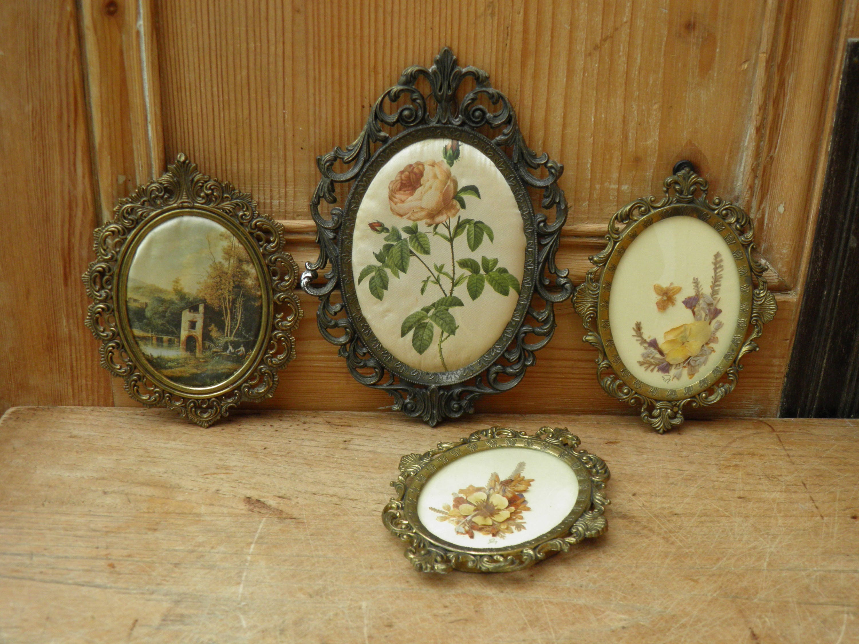 Four vintage italian brass picture frames boho decor renaissance 1683 shipping jeuxipadfo Image collections