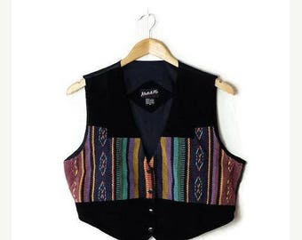 ON SALE Vintage Black Suede x Colorful tribal stripe Vest  from 80's*
