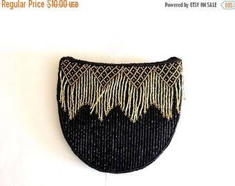 ON SALE Vintage Black & Gold fringes  Beaded Shoulder Purse/Sequin Purse/ Evening Purse/Prom purse*