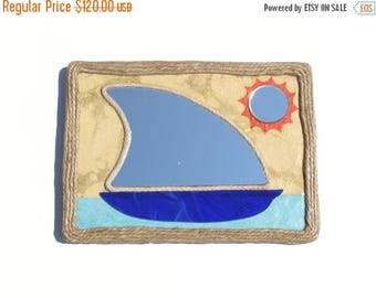 On Sale 50 % Decorative Wall Mirror,Sail-boat decorative mirror with orange sun,handmade mirror,hemp rope mirror