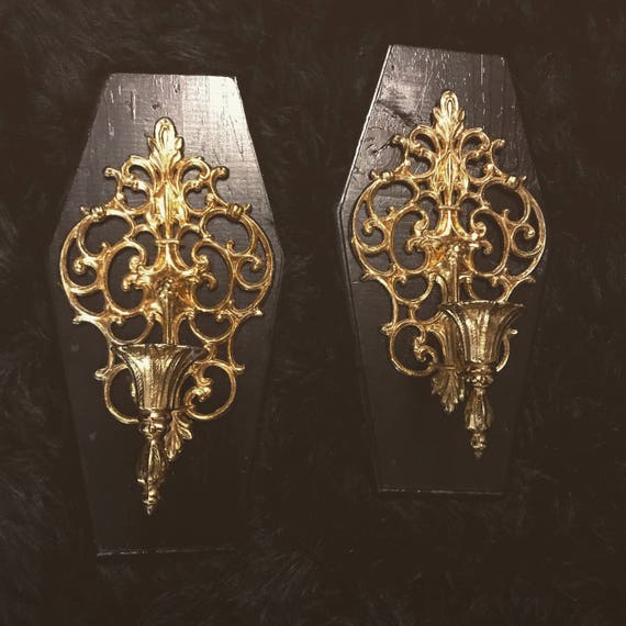 Pair of Gold Sconces on Wood Coffin Base