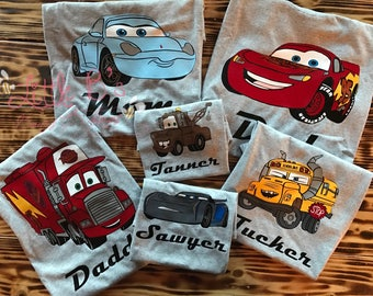 Disney Cars Shirt | Cars Family Shirts | Cars Birthday Shirt | Lightning Mcqueen Shirt | Mater | Mack | Sally | Cars 3