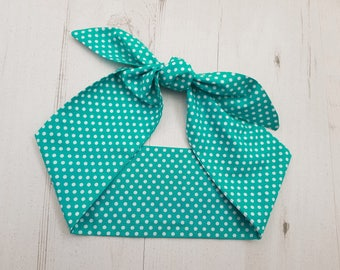 50s Vtg Teal Green Polka Dot Head Scarf With Wire or Not - Rockabilly Psychobilly Cute