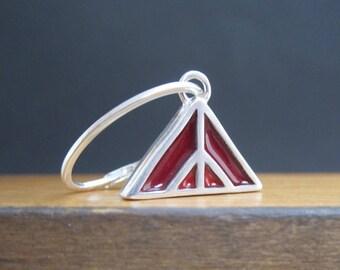 New Century Modern Red and Blue Earrings - Reversible Silver and Enamel Lever Back Earrings - Mountain Earrings