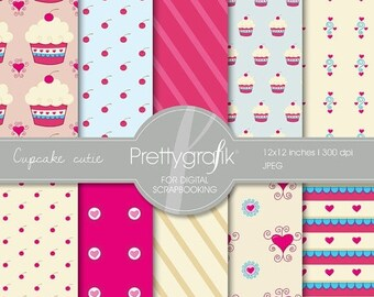80% OFF SALE Cupcake digital paper, commercial use, scrapbook papers, background  - PS502