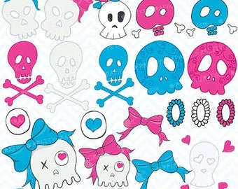 80% OFF SALE skull clipart commercial use, vector graphics, digital clip art, digital images- CL384
