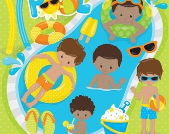 80% OFF SALE Pool party boys clipart commercial use, kids vector graphics, vacation kids digital clip art, digital images - CL862