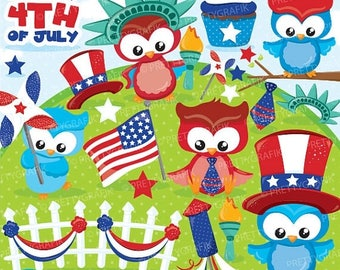 80% OFF SALE Independence day owls clipart commercial use, 4th of July vector graphics, Patriot digital clip art, digital images - CL863