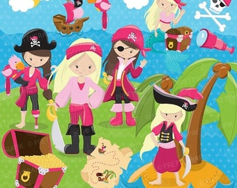 80% OFF SALE Pirate Girl clipart commercial use, vector graphics, digital clip art, digital images - CL648