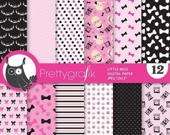80% OFF SALE Little lady digital paper, baby girl commercial use,  scrapbook papers, background, shower - PS891