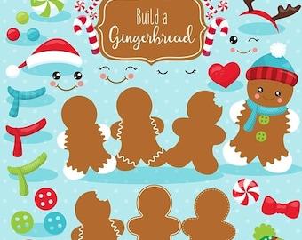 80% OFF SALE Build a Gingerbread Man clipart commercial use, Kawaii gingerbread vector graphics, build gingerbread digital clip art - CL1114