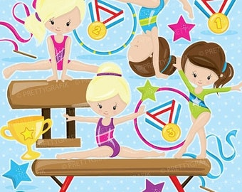 80% OFF SALE Gymnastic Girls clipart commercial use, gymnastic  clipart vector graphics, digital clip art, gym digital images - CL911