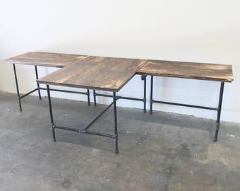 Wayne T-shaped Desk Solid Wood and Steel Pipe Modern Industrial Furniture