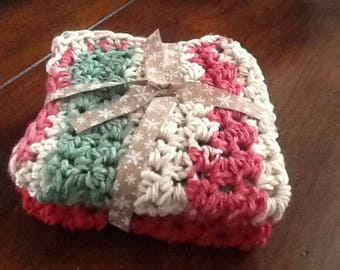New set of two cotton dishcloths for your kitchen,crochet, house warming.