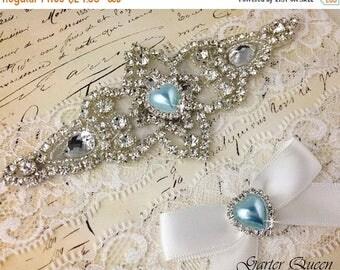 SUMMER SALE Ivory Lace Garter Set, Something Blue Wedding Garter, Bridal Garter set, Rhinestone Garter, Ivory Garter, Crystal Garter