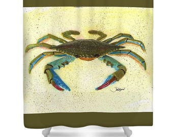 Crab Shower Curtain,Bath Decor,Beach Gifts,Beach House Decor,shower Curtains