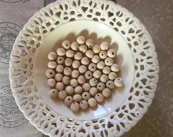 50 PCS. - Natural Wooden Beads Not Painted, 10 mm