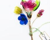 Spring Mix Lampwork Flower Headpin Bouquet. Set of six headpins.