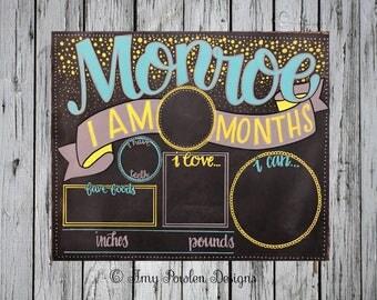 Reusable Monthly baby milestone board/  chalkboard/Personalized Photo prop/Modern script & confetti