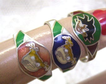 THREE Vintage Sterling Silver Sassy Face Rings....Three Sterling Girl Face Rings...Mexico...Enamel Faces....Add On Rings