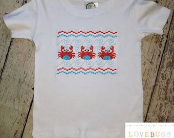Boys Smocked Crab Shirt Summer Shirt Lots of sizes Made to order!