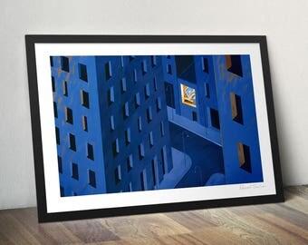 Freelancer. Illustration art poster giclée print signed. Working alone at home.