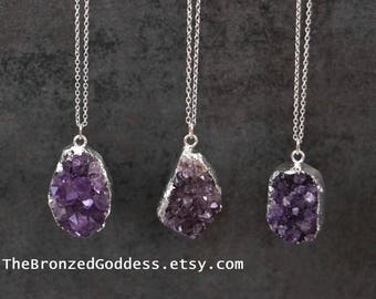 Vivid Purple Amethyst Pendant Necklace // Raw Amethyst Crystal // Calming Stone // Sterling Silver // Amethyst Crystal Necklace