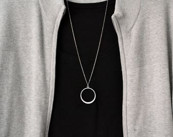 Long silver necklace etsy large circle necklace long silver necklace simple necklace boho necklace layering necklace pendant necklace aloadofball Image collections