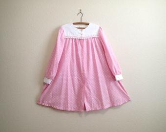 Pink White Polka Dot Maternity Dress w/ Floral Applique