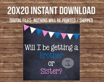 Will I be getting a brother or sister? - INSTANT DIGITAL FILES- 20x20- Gender reveal, sibling, box, gender reveal box decor, decoration sign