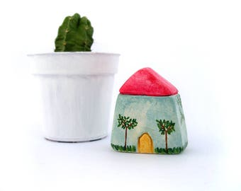 Miniature clay house, tiny clay cottage, rustic home decor, shelf decor, tiny home decor, housewarming gift, handpainted, quirky home decor
