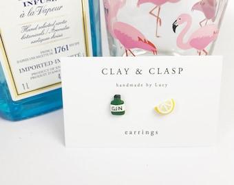 Gin and Lemon Tonic Earrings - beautiful handmade polymer clay jewellery by Clay & Clasp