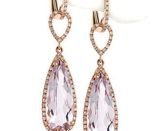 Pear Cut Pink Amethyst & Diamond Drop Dangle Earrings 14k Rose Gold