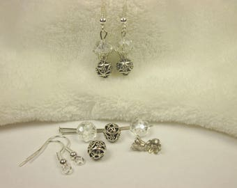 Kit earrings glass and metal 2 cm (59 kit)