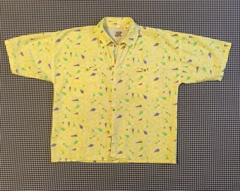 1980's, snap front, collar shirt, in yellow, with purple, green and white, abstract, geometric print, Women's size Small/Medium