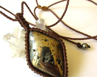 Polished Pyrite Macrame Brown Threads Pendant handmade with natural Pyrite Stone