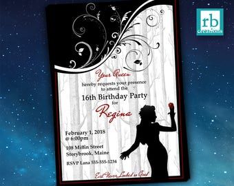 Once Upon a Time Regina, Evil Queen Birthday Invitation, Once Upon a Time Invitations, OUAT Party, Lana Parrilla - Digital Printables