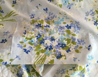 A Brilliant Bouquet of Blue White and Periwinkle This is a Soft Vintage Queen Flat Sheet in Cotton and Polyester Blend