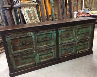 HUJGE Antique Hand Carved Chest OLD World Colonial dISTRESSED Sideboards TV Console Buffet Vanity Cabinet Rustic Luxe Eclectic