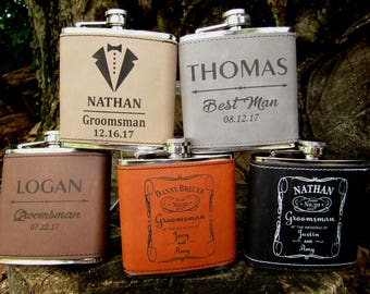 Groomsman Flask Set of 7, Personalized Flask, Engraved Hip Flask, Bridal Party Gift, Father of Bride, Father of Groom, Usher