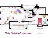 "Floorplan of Holly Golightly's apartment form ""Breakfast at Tiffany's""."