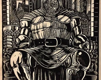 Doctor Doom Block Print