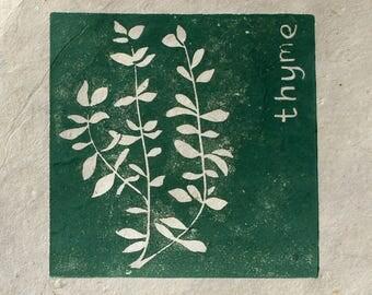 Thyme herb mini linocut print