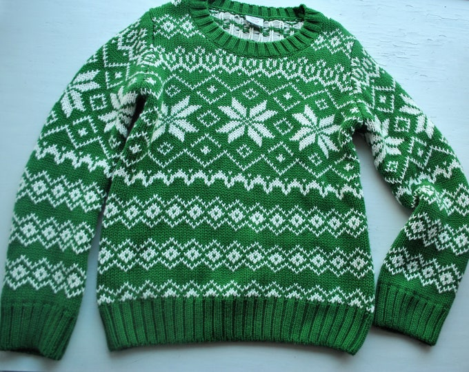 Polarn O Pyret Christmas Sweater Green Boys 6/8 Years Swedish