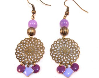 Filigree purple sequin Flower Earrings