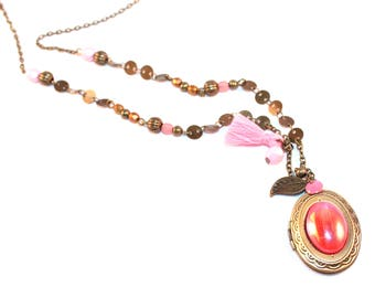 Pink and gold locket Locket necklace