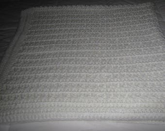 New Large Handmade Crochet White Baby Blanket / Shawl