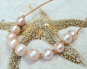 Pink Freshwater Pearl Necklace- Pearl Necklace- Multi Pearl Necklace