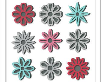 Layered outline spring flowers cutting file in SVG, STUDIO, PDF formats